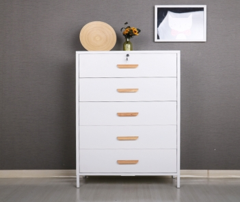 HME-5D Living Room White Metal Chest Of Drawers