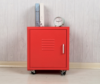 MBD-1T metal red nightstand with 4 wheels