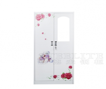 LKP-94 2 doors steel metal bedroom wardrobe