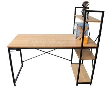 TF-B2 wood top steel frame computer desk with shelves