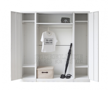 LKP85 2 single door metal steel clothes cabient with clothes hanging stand in middle