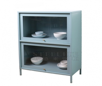 CT-07 2 tier glass door buffet metalsideboard for tableware store