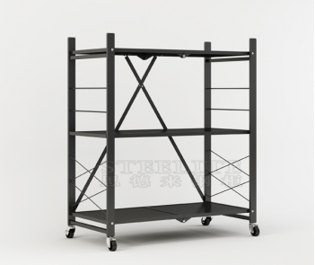 FS-3T Black 3-Shelf General Purpose Collapsible/Foldable Shelving Unit Small Rack with Wheels