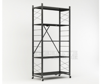 FS-5T 5-shelf foldable folding wheeled storage rack shelves for garage kitchen bakers closet collapsible rack